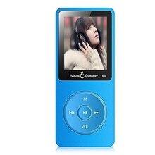 Ultrafino 8 GB Reproductor de MP3 con Altavoz de 1.8 Pulgadas de Pantalla Puede Jugar 80 horas Original IQQ X02 con FM Radio E-Book Reloj de Datos azul