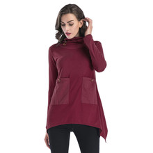 New Women's Long Sleeve Plus Size Splice Pocket Pile Collar Irregular T Shirts For Ladies Casual tshirt Pullover Oversizes To(China)