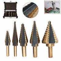 High Quality 5pcs Set Titanium Cone Step Drill Bit HSS Large Cobalt Hole Cutter Tools With