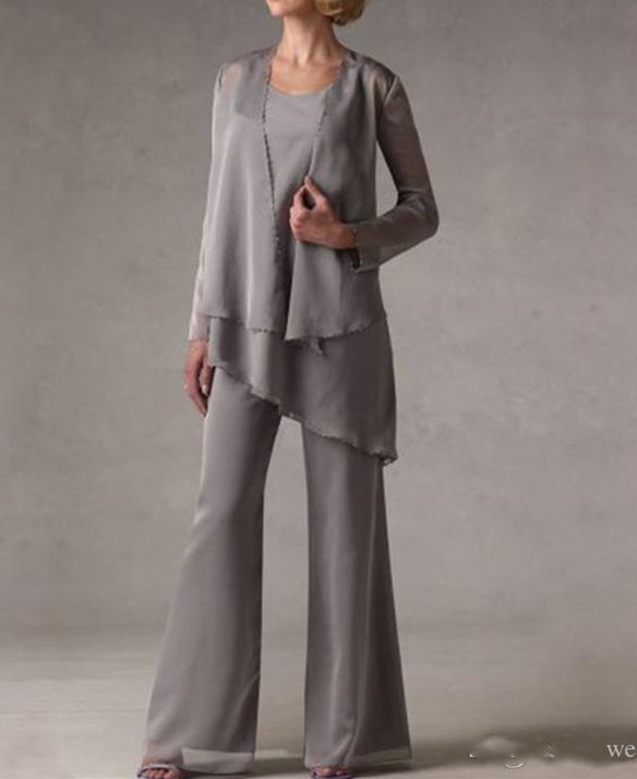 mother of the bride dresses Grey Mother Bride Pant Suits With Jacket Women Evening Pant Suits Robe De Mariee vestido de madrinha in Mother of the Bride Dresses from Weddings Events