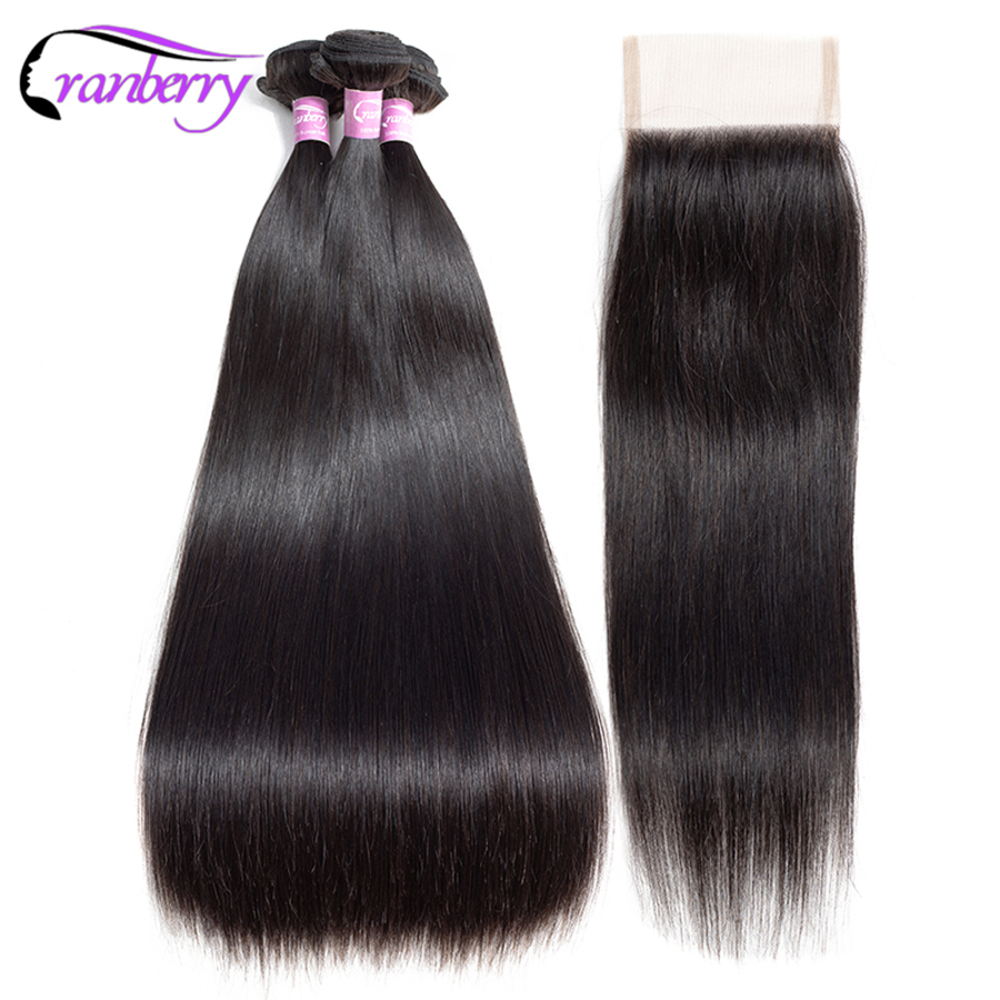 CRANBERRY 4 4 Swiss Lace Closure With 3 Bundles Malaysian Hair Bundles With Closure Remy Hair