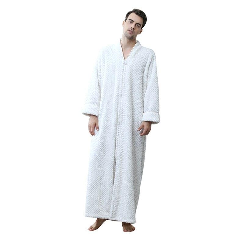 e5999c9c03 2019 Zebery Unisex Flannel Long Robes Zipper Housecoat Full Length ...
