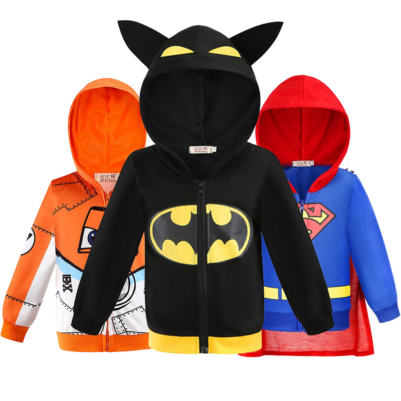 Boys Hoodies Avengers Marvel Superhero Iron Man Thor Hulk Captain America Spiderman Sweatshirt For Boy BatmanJacket RussiaWinter