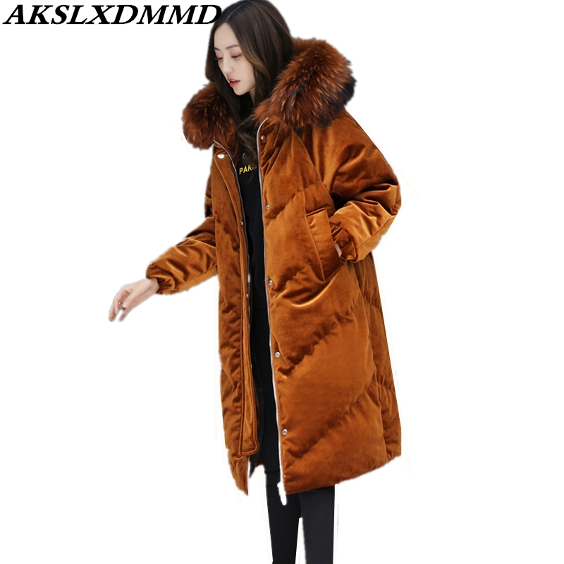 2019 New Women Winter Cotton Coat Hooded Fur Collar Print Velvet   Parkas   Fashion Thicken Long Outerwear Warm Winter Jacket CW018