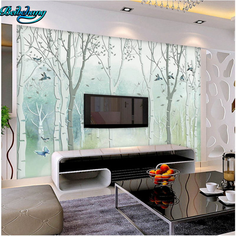 Wallpaper For Lounge Wall Part - 37: Beibehang Custom Mural House Lounge Wall Decorative Wallpapers Hand Painted  Dream Trees Flying Birds TV Walls-in Wallpapers From Home Improvement On ...