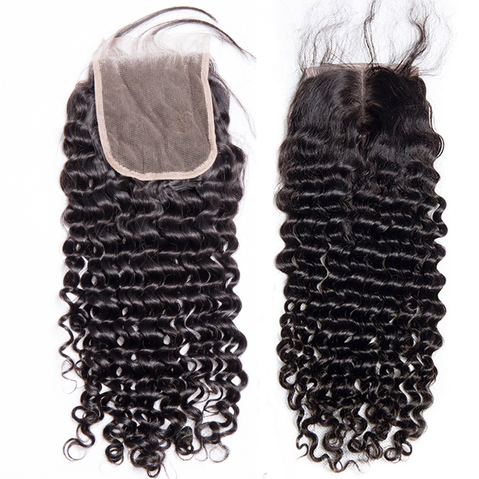 HTB1W2KmbZuYBuNkSmRyq6AA3pXay Deep Wave 3 Bundles with Closure Brazilian Hair Weave Modern Show Hair Human Hair Bundles with Closure Free Part Lace Non Remy