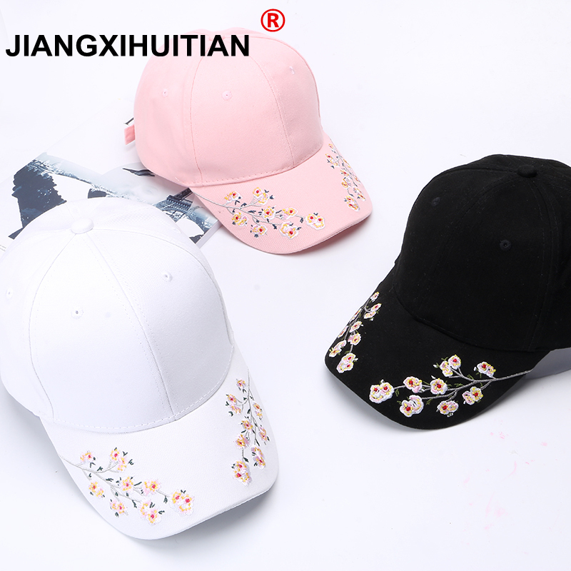 Hats Women Embroidery Cotton Baseball Cap Snapback Caps Hip Hop Hats Casquette  girls flowers Baseball cap free shipping(China)