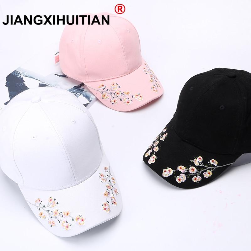 Hats Women Embroidery Cotton Baseball Cap Snapback Caps Hip Hop Hats Casquette  Girls Flowers Baseball Cap Free Shipping