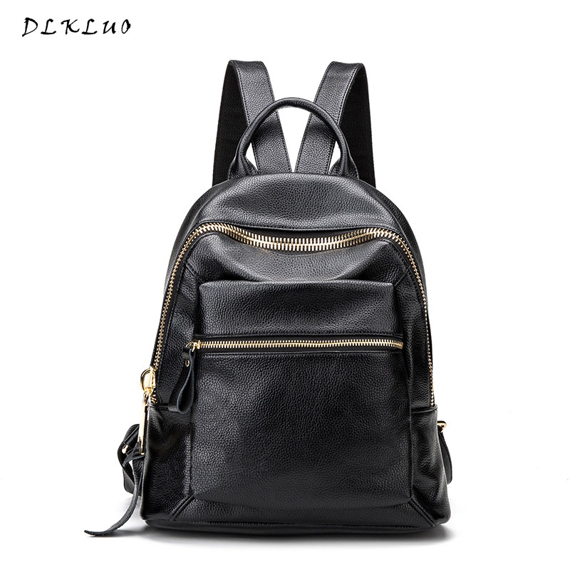 2017 Mochilas 2017new Leisure Travel Backpack Genuine Leather Women High Quality Famous Brand Preppy Style School