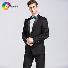 2019 Slim Fit Black Shawl Lapel Business Men Suits For Wedding Formal Costume Groom Prom Tuxedo Best Man Blazer Traje Hombre
