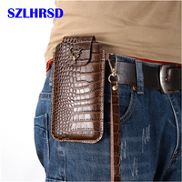 Wrist Men Genuine Leather Case Mobile Phone Waist Bag Wear Belt Verticle Waist Bag for ASUS ZenFone Max M1 ZB555KL