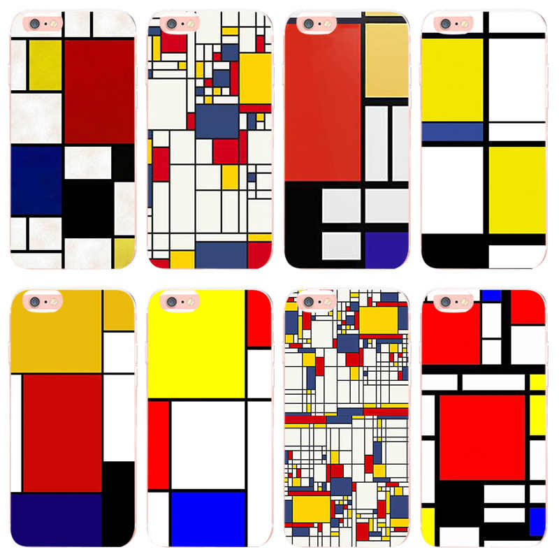 MaiYaCa mondrian arte iphone 6 6plus X XS X XR XSMax coque caso para iphone 8 8plus 7 7 más 5 5S SE cubierta móvil