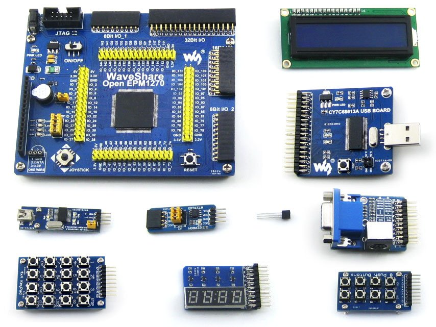 Waveshare OpenEPM1270 Package# EPM1270T144C5N EPM1270 ALTERA MAX II CPLD Evaluation Development Board +10 Accessory Modules Kits open3s500e package a xc3s500e xilinx spartan 3e fpga development evaluation board 10 accessory modules kits