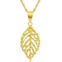 European New Women Trendy 18K Gold Pendants Simple Fashion Punk Gold White Rose Hollow Single Leaf Leaves Necklace Pendant 27*10
