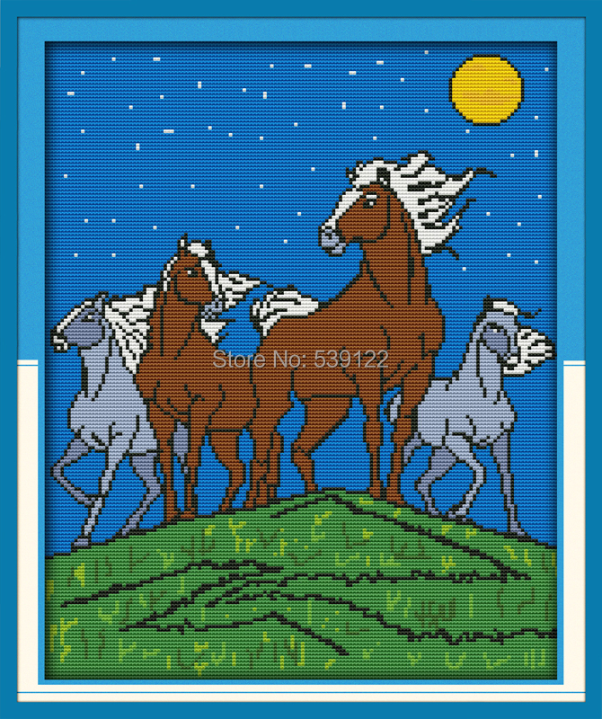 Free Cross-stitch Horses In The moonlight!14CT DMC Counted Embroidery Cross Stitch Kits For Needlework Knitting Needles Crafts