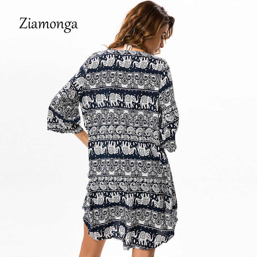 Ziamonga Estate Beachwear Boho Stampa Camicetta Camicia Lunga Cardigan 2018 Casual Sexy Kimono Camicie Donne Beach Cover Up Allentato Blusas