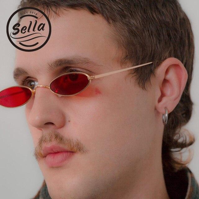 88fe7345fae Sella 2018 New Fashion Women Men Retro Narrow Small Oval Matel Frame  Sunglasses Chic Clear Candy