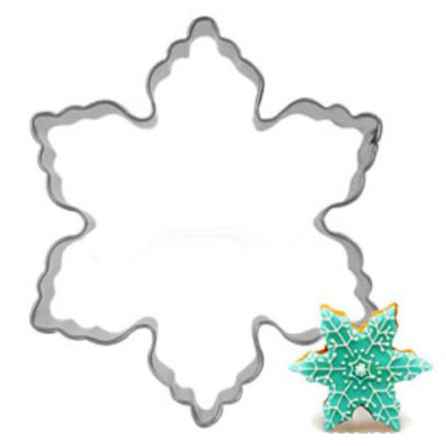 10pcs/lot Cookie Cutters Stainless Steel Snowflake Shaped Wedding Cake  Baking Flower Cookie Molds Biscuit