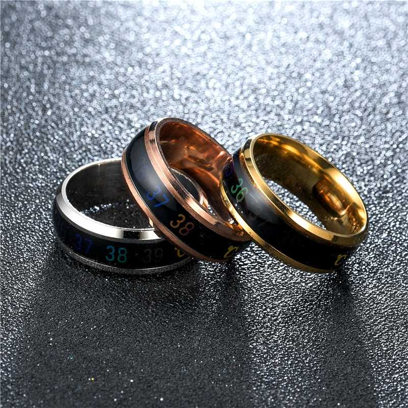 Fashion temperature measurement ring intelligent temperature sensing change jewelry men and women holiday gift jewelry