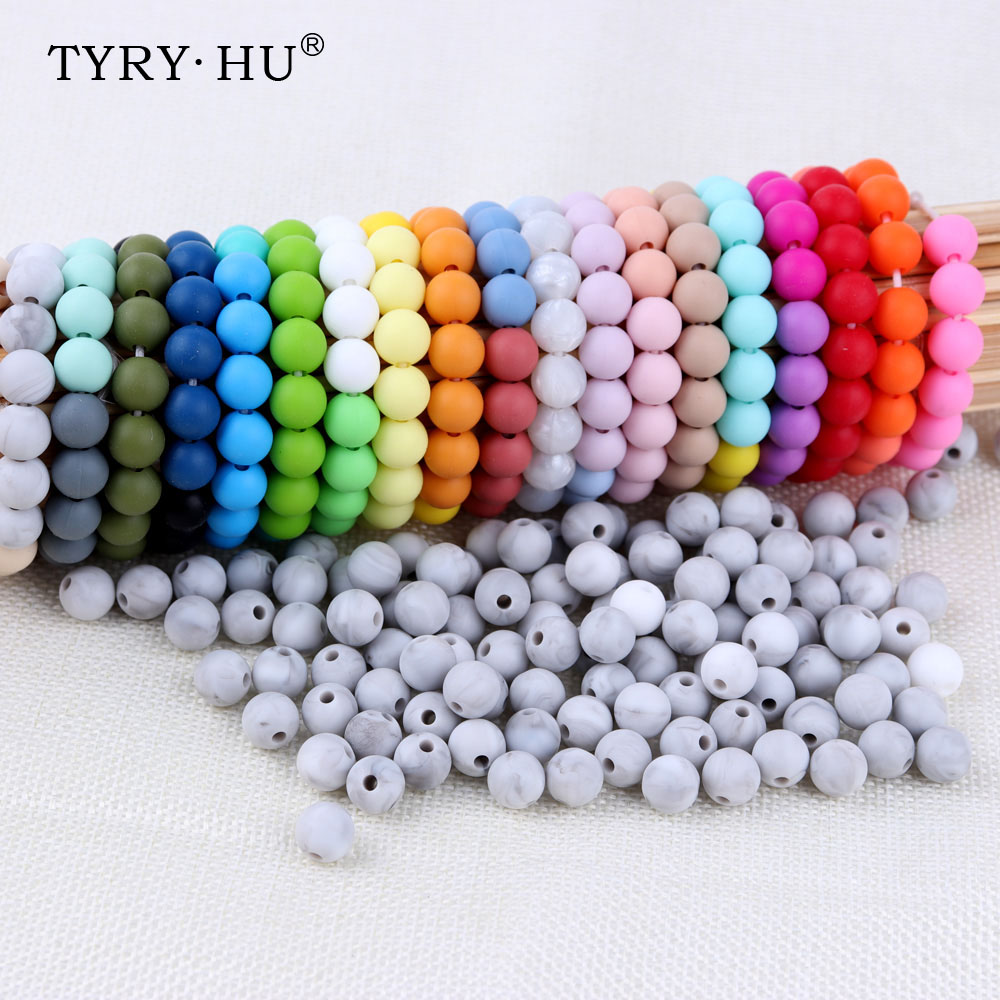 Tyry.hu 10pc Silicone Round Beads 12mm Diy Baby Teether Silicone Teething Necklace Accessories Pacifier Clips Crib Bead