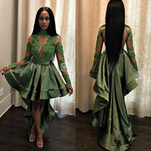 Green See Through Black Girl Prom Dress Long Sleeve Hi-Lo High Neck Party Gowns гарнитура hi fun hi deejay army green