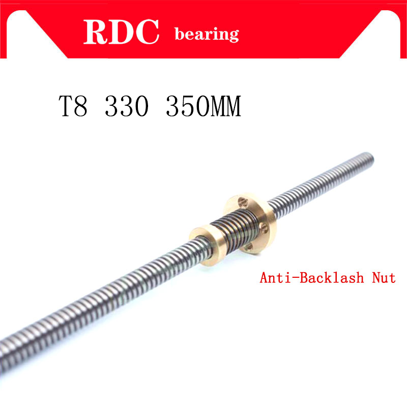 High Quality Anti-Backlash Nut + 330 350 Mm T-type Stepper Motor Trapezoidal Lead Screw 8MM Thread 8mm T8 For 3D Printer & CNC