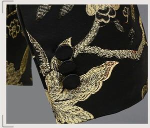 Image 5 - זהב פרח ציפור רקמת שמלת חליפת גברים Slim Fit כפתור אחד Mens חליפות עם מכנסיים שלב נשף חתונה חתנים תלבושות homme 4XL