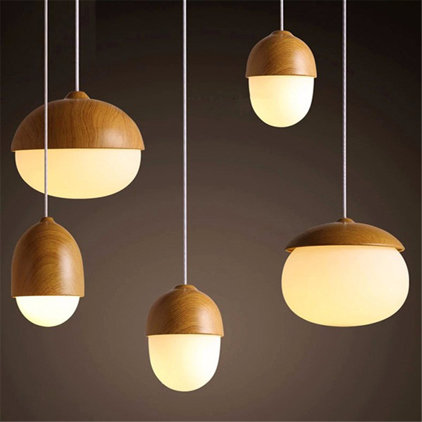 Vintage Iron LED Kitchen Dining & Bar Pendant Lights Wood Grain Shop Pendant Lamp E27 Coffee Dining Hall Indoor Bedroom Lighting