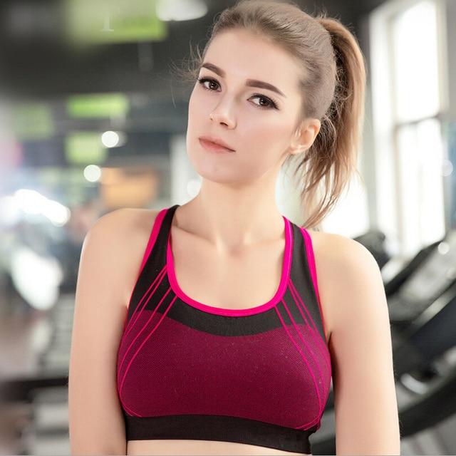 6ba640f1c6 Woman Sportswear Running Yoga bra Jogging Seamless Sports Bra Padded  Underwear Tennis Vest Top