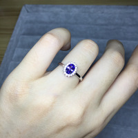 Natural Blue Tanzanite ring Genuine Solid 925 Sterling Silver Real Gemstone Rings Woman Fine Jewelry