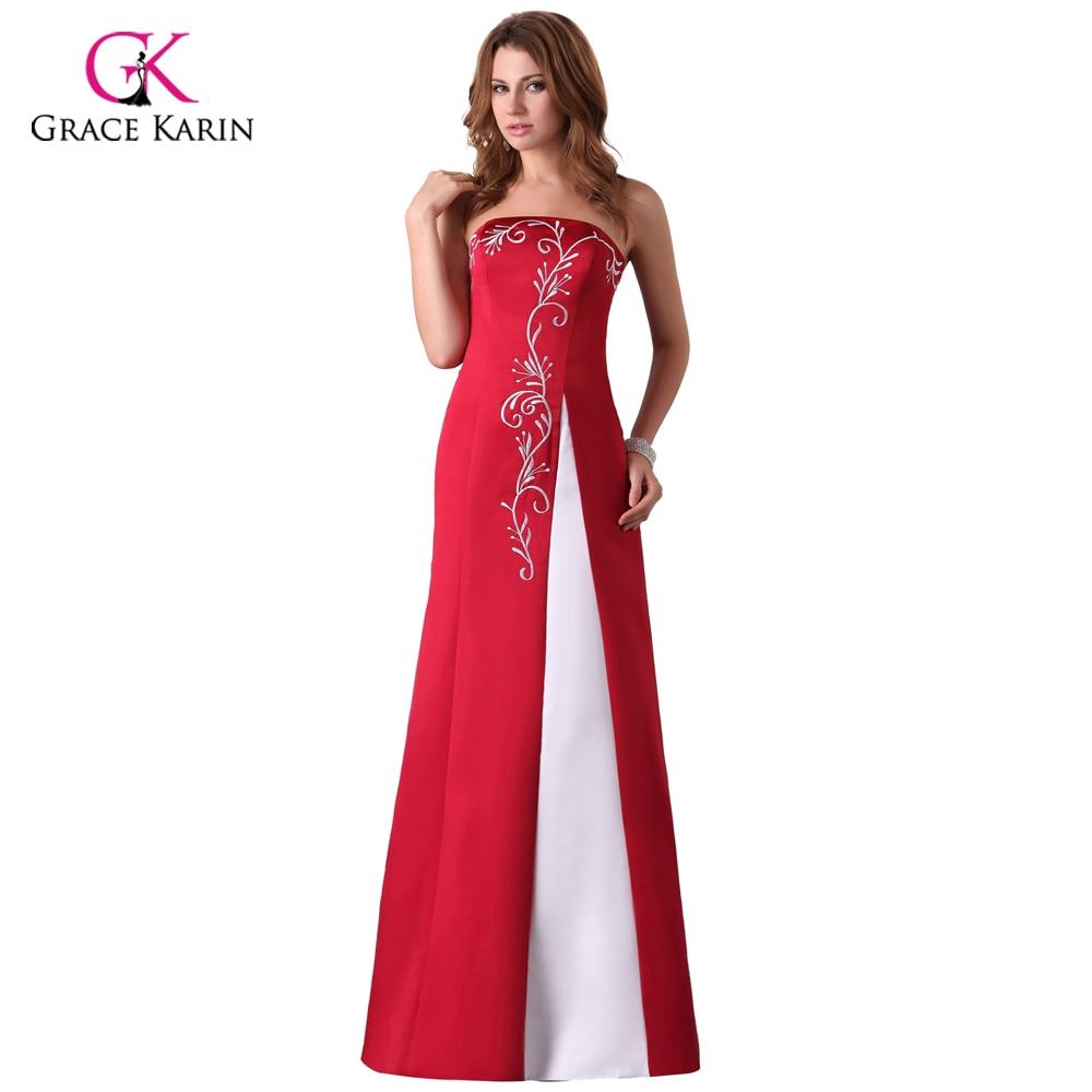 Cheap Long Red Evening Dresses Grace Karin Satin abendkleider 2018 ...