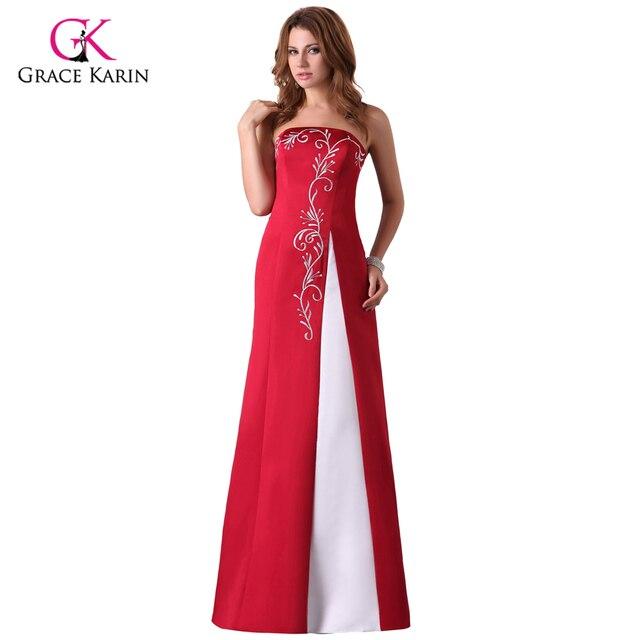 Cheap Long Red Evening Dresses Grace Karin Satin abendkleider 2018 Party  Formal Dresses Burgundy Gowns Robe de soiree ccf1cc3f1fea