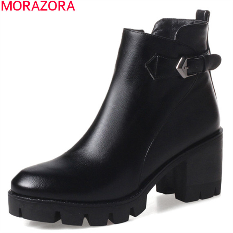 MORAZORA Fashion Autumn Winter New Arrive Women Boots Round Toe Zipper Buckle Platform Ladies Ankle Boots Square Heel Black