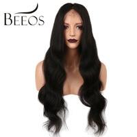 Beeos 180 плотность 360 Синтетический Frontal шнурка волос парик бразильский Реми Человеческие волосы Искусственные парики с ребенком волос для Для