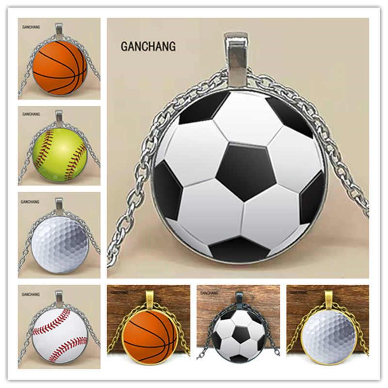Nowa moda koszykówka baseball piłka nożna zdjęcie kryształ wisiorek szklany naszyjnik biżuteria