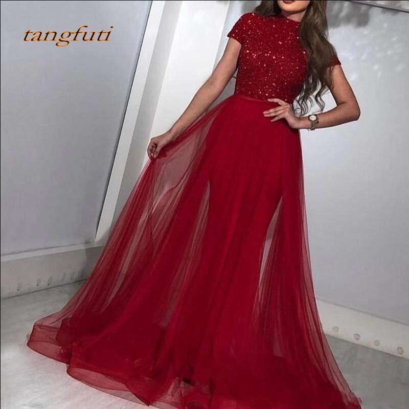 Evening Dresses Mermaid Sequined Prom Dress with Detachable Tulle Skirt Dubai Saudi Arabic Long Evening Gowns Formal Evening