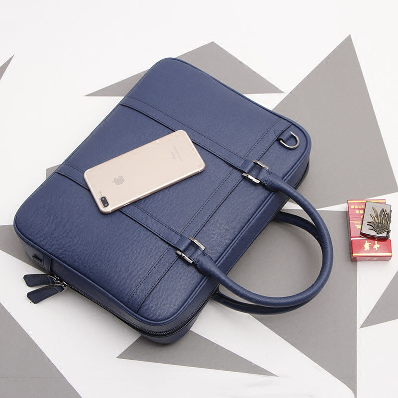 Men's Genuine Leather Business Briefcase Casual Handbag Fashion Laptop Crossbody Bag.