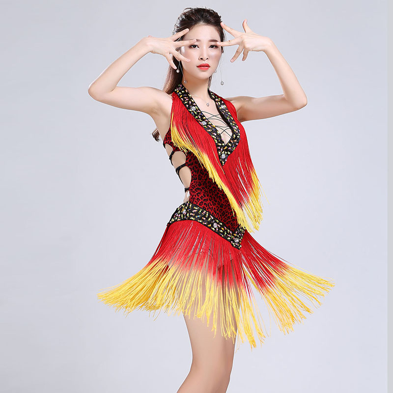 Sexy Latin Dance Dress Deep V-Neck Leopard Print Intensive Gradient Tassel Straps Beauty Back Mini Dress