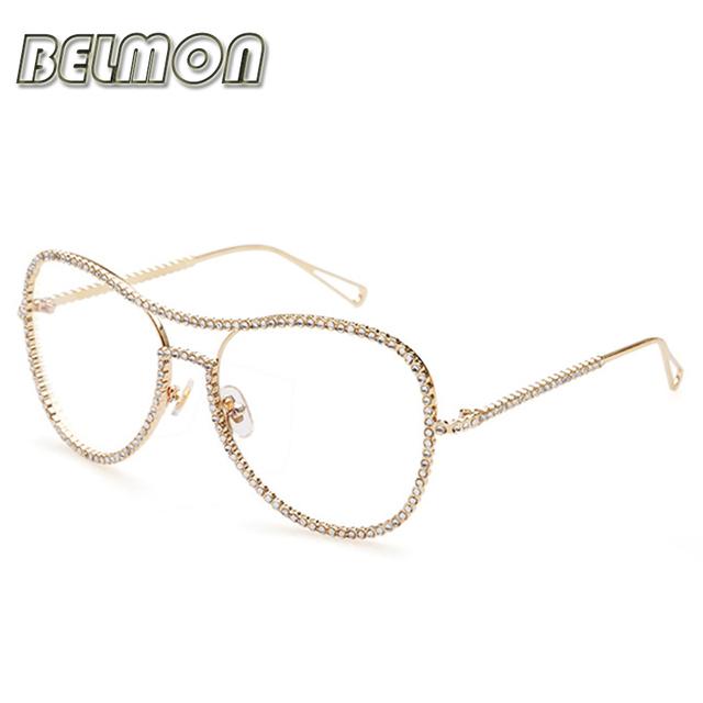 Óculos de Armação das Mulheres Strass Óptica Espetáculo Óculos de Olho Para As Mulheres Limpar Lente Armacao oculos de RS144 de Diamante Do Sexo Feminino
