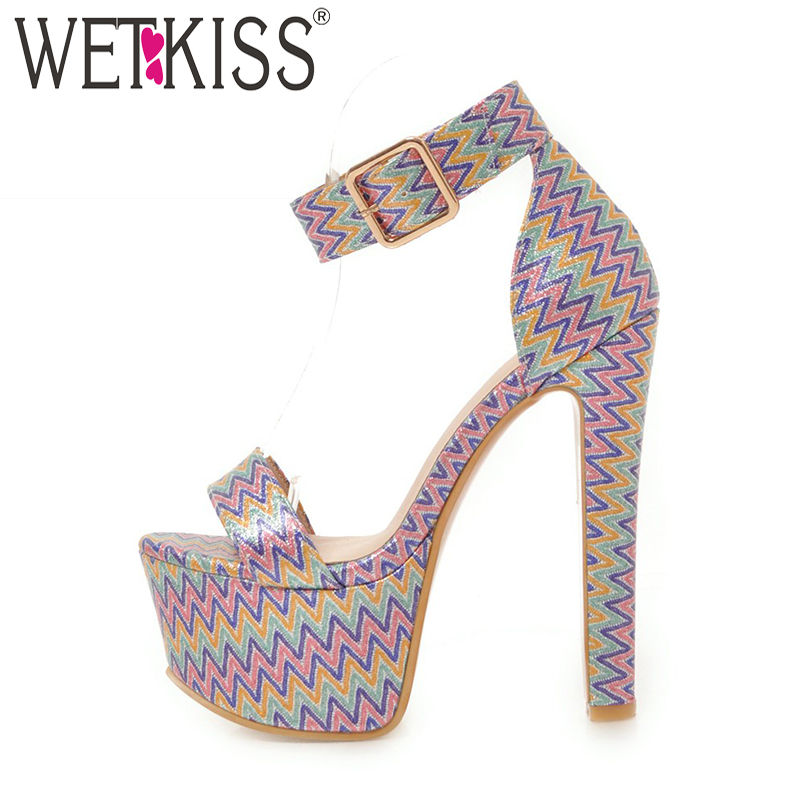 WETKISS Summer Ankle Strap Women Sandals Open Toe Platform Shoes Print Footwear 2018 Super High Heels Party Fashion Ladies Shoes wetkiss 2018 summer women sandals ankle strap platform shoes peep toe high heels cover heel ladies party footwear big size 50