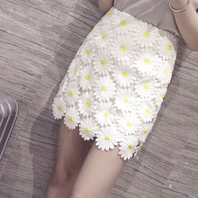 Fashion Unique Three-dimensional Chrysanthemum Embroidered Lace Skirt Sexy Package Hip Slim Summer Women Skirts Saia TT1121