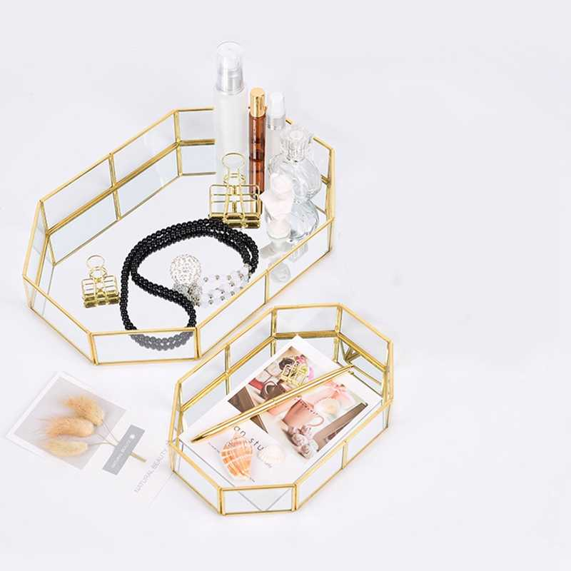 Nordic Style Glass Copper Geometry Storage Baskets Box Simplicity Style Home Organizer For Jewelry Necklace Dessert Plate