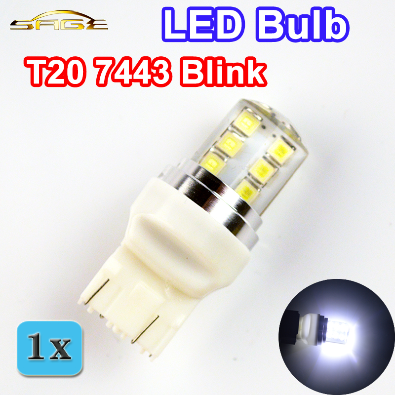 купить flytop Auto LED Bulb T20 2835SMD Blink Silicone Shell 7443 12 Chips Cold White Color 580 W21/5W W3x16q Car Light Lamp онлайн
