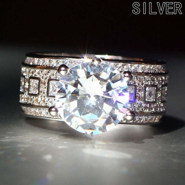 White Color Luxury Bridal Wedding Ring Set CZ Crystal Engagement Ring Sets For Women
