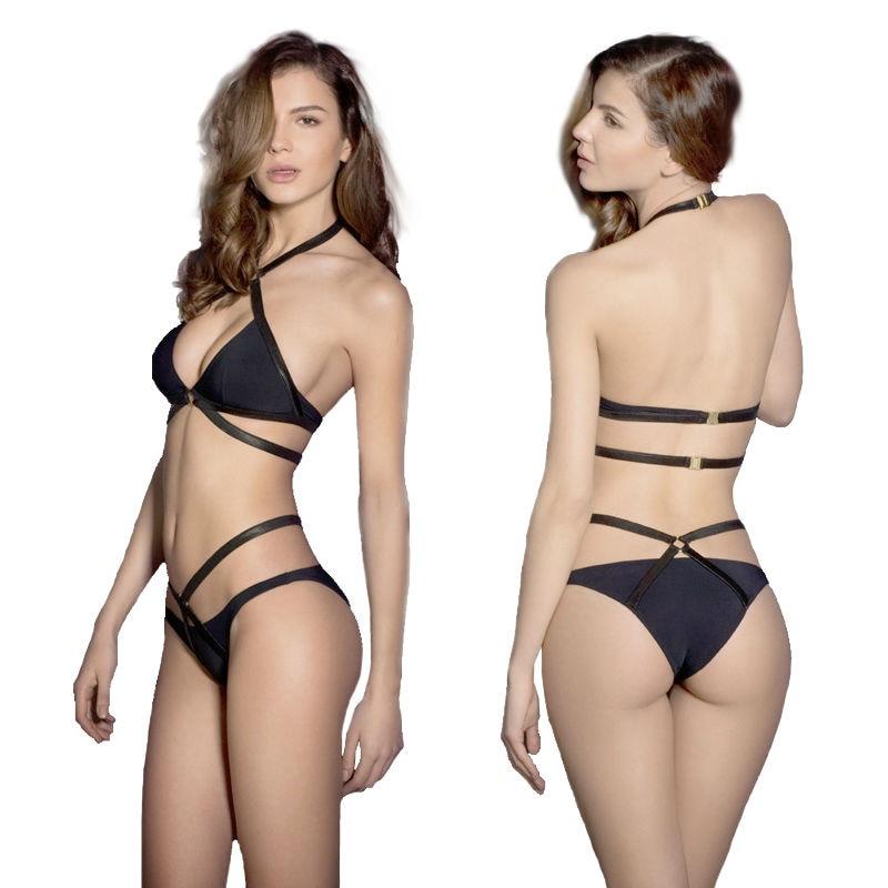 nuovo costume da bagno della fasciatura nero sexy perizoma bikini spinge verso lalto croce