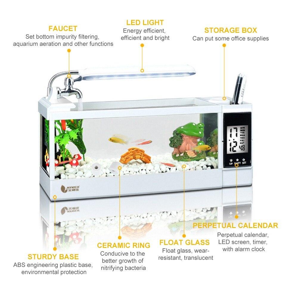 Mini Aquarium d'aquarium d'aquarium d'usb 220V avec l'écran d'affichage à cristaux liquides de lumière de lampe à LED et les réservoirs de poissons d'aquarium de bureau d'horloge - 5