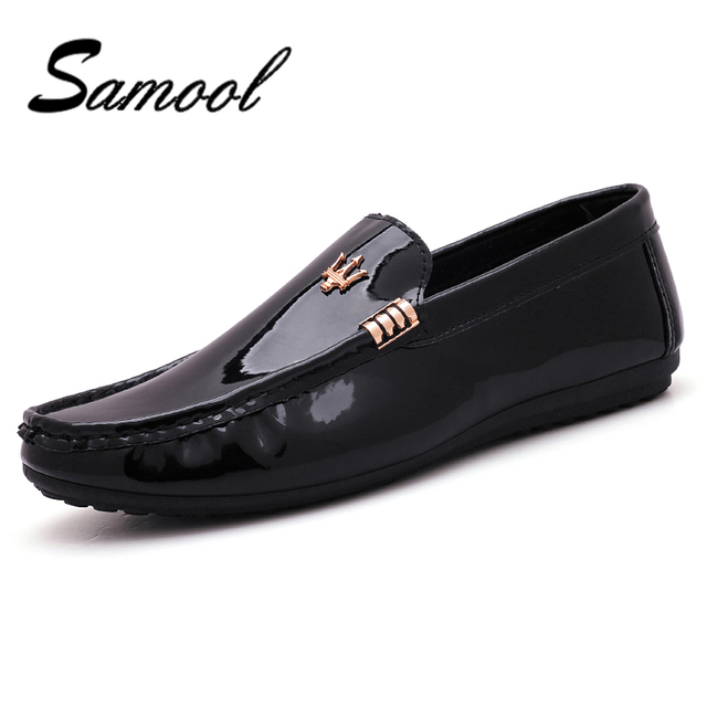 f75b08a18fa675 Men s Patent Leather Men Casual Shoes Slip On Leisure Men Driving Penny  Loafers moccasins High Quality Mirror Shoes Men dx5