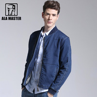 A LA MASTER New Knitted Brand Denim Jackets Men S XXXL Endland style Male jackets Cotton Polyester Spandex Rib sleeve Mens Coats