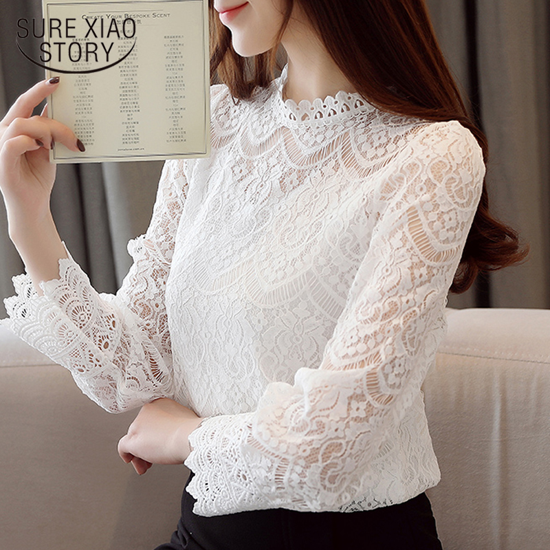 fashion womens tops and   blouses   2019 stand collar sexy hollow lace   blouse     shirt   female flare long sleeve women   shirts   2659 50