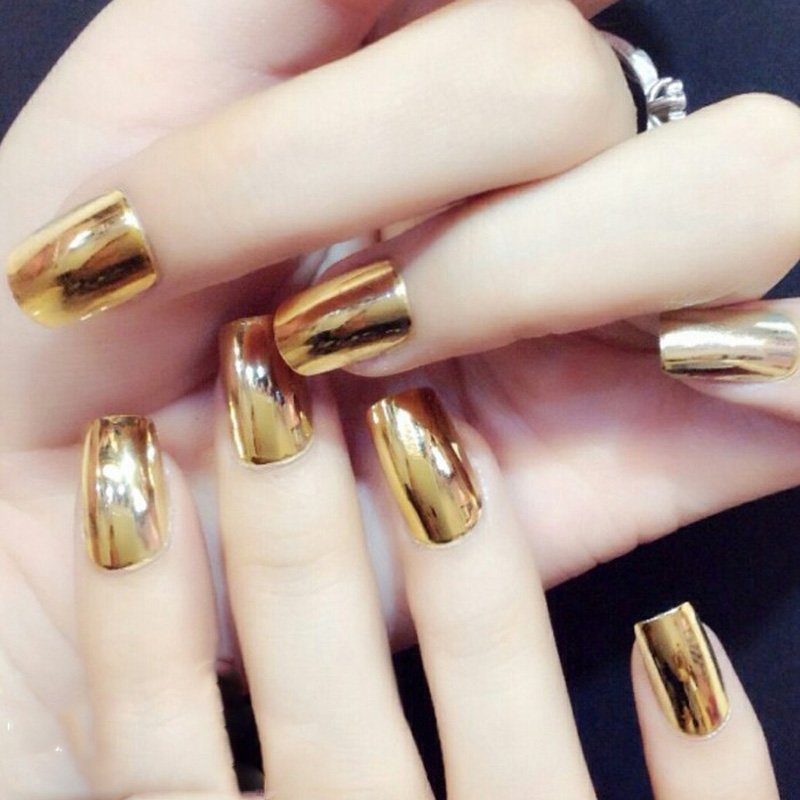 1sheet Full Cover Nail Art Patch Metallic Gold Silver Black 3D Nail ...